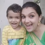 Saranya Mohan, baby, smile