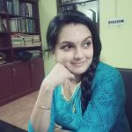 Saranya Mohan, blue dress