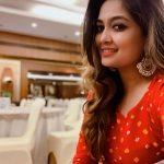 Soundarya Bala Nandakumar, Singer, red dress, shop