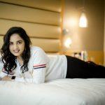 Srushti Dange, Pottu Actress, lying bed