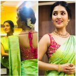 Vani Bhojan, green saree, front, back side